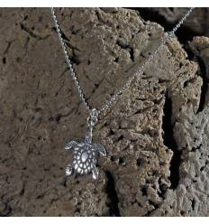 Collier tortue argent